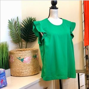 J. Crew Ruffle Cap Sleeve Blouse Beautiful Green